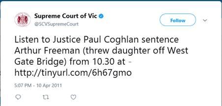 Supreme Court of Vic's tweet