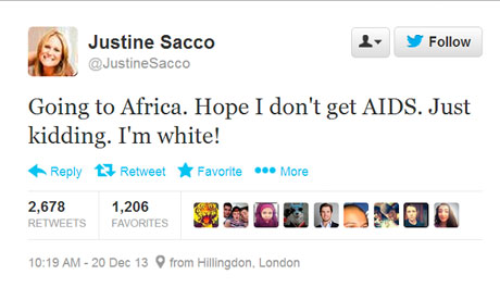 Justine Sacco's tweet