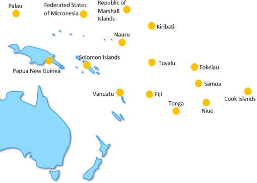 Palau, Federated States of Micronesia, Republic of Marshall Islands, Papua New Guinea, Solomon Island, Tuvalu, Tokelau, Samoa, Vanuatu, Fiji, Tonga, Niue, Cook Island