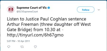 Supreme Court of Vic's tweet