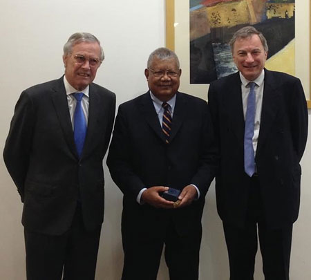 Chief Justice of Palau with Federal Court Justices during a visit to the Federal Court, October 2014